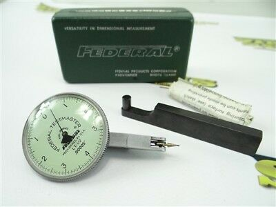 """Federal Testmaster Precision Jeweled Dial Test Indicator .00005"""" Grads W/ Case"""