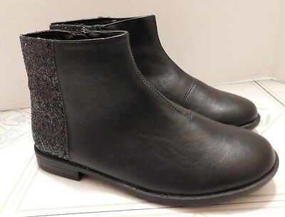 NWT Girls The Children's Place Black Glitter Ankle Zipper Boots Size 2