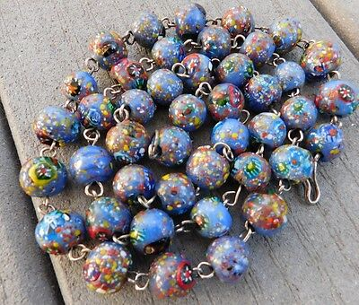"""Vintage Murano Venetian 30"""" Blue Glass Spotted Bead Necklace ~"""