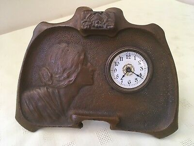 Antique Art Nouveau Bonze Clock C1900