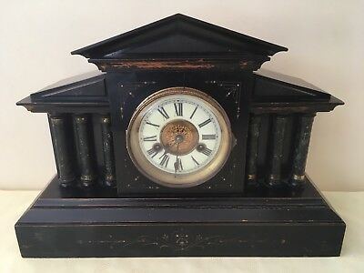 ANTIQUE WOODEN MANTLE CLOCK C1920 German Made