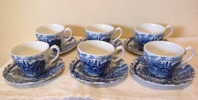 "Vintage ""myott""- Royal Mail -6 Coffee/ Tea Cups With Saucers"