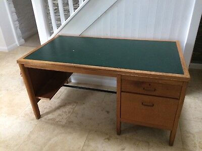 Vintage Mid Century Golden Oak Single Pedestal Teachers Desk.