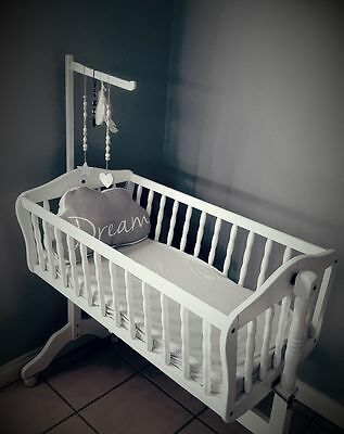 Baby Cot, Baby Rocking Cradle,white Timber Cradle, Swinging Cot