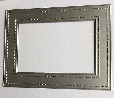 Double Stitch Rectangle Frame Craft Die. Cards, Scrapbooking. Uk Seller