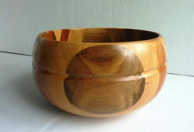 """Crafted Deep Wooden Fruit/Salad Bowl - Dia 8"""" (Mixture of Woods) - Lovely Design"""