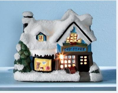 Ceramic Snow Covered Christmas Toy Store Shop Tealight Candle Display Oil Burner