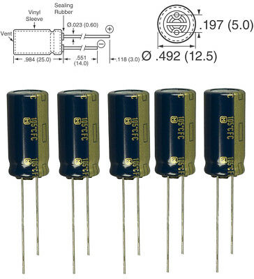 5x Panasonic FC 1000uF 35v 105c Radial Capacitor Low ESR, 5000 hours @ 105C