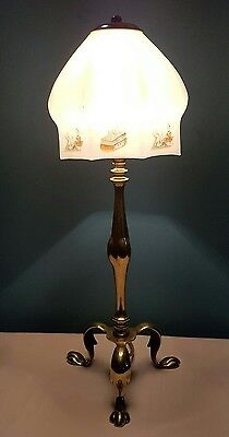Antique C1910 Edwardian Cast Brass Pullman Table Lamp. Chinese decorated shade.