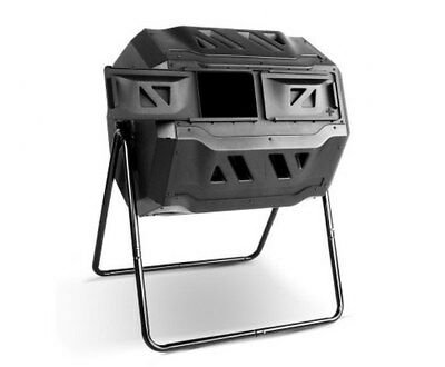 160L Compost Tumbler Bin Twin Chamber Design Strong And Heavy Duty Steel Frame