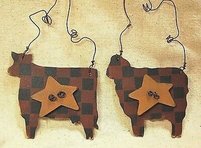 2 Primitive Wood Animal Ornaments - Cow and Sheep
