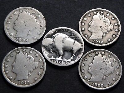 LOT de 5  pièces USA de 5 Cents LIBERTY et Buffalo 1904/1912