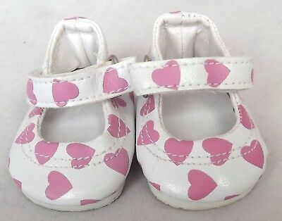 White with Pink Heart Doll Shoes 4 Baby Alive / Baby Born / Baby Born Sister