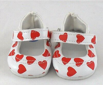 White with Red Heart Doll Shoes 4 Baby Alive / Baby Born / Baby Born Sister