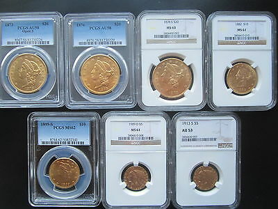 nice Lot  7 higher grades  US Gold coins      (  #A12 )