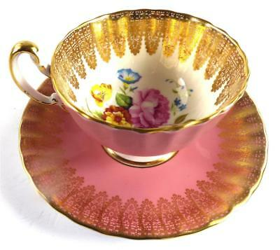 AYNSLEY PORCELAIN CUP AND SAUCER PINK FLUTED FLOWERS GILT LACE b