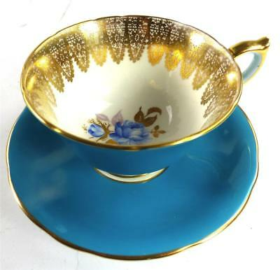 AYNSLEY PORCELAIN CUP AND SAUCER BLUE FLOWERS GILT LACE c