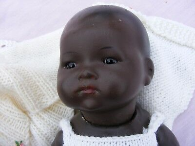 """German Bisque Headed Black Doll Armand Marseille 13""""(Approx) Impressed Am371/3K"""