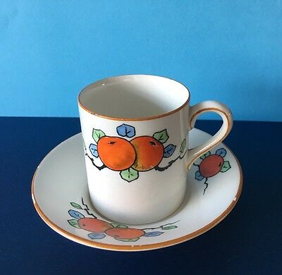 Crown Ducal Small Coffee Cup/can & Saucer Orange Design A 1484
