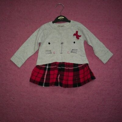 """Girls """"Next"""" Grey/Silver/Red Tartan Cat Embroidered Tunic Dress Age 9-12 months"""
