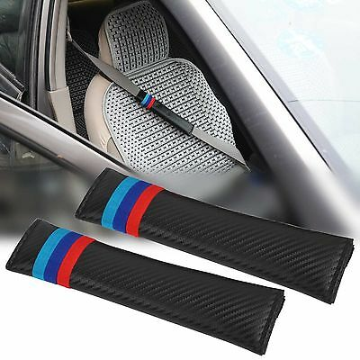 2 X Carbon Fiber BMW Stripes Car Seat Belt Cover Pads Shoulder Cushion New