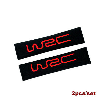 2 X WRC Cotton Black Seat Belt Cover Shoulder Pads 2pcs - FREE POST