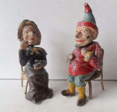 Antique Rare Cold Painted Spelter/lead Nodding Head Punch & Judy Figures