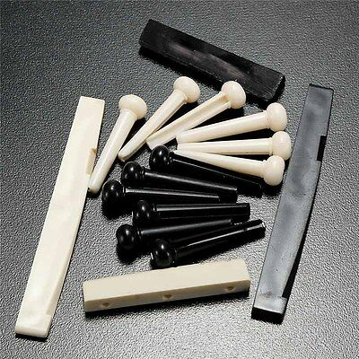 Set of 8 pcs Bone Bridge Pins Saddle Nut Part for Guitar Acoustic Folk