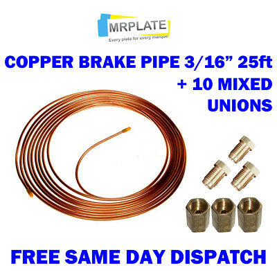 """Copper Brake Pipe 25ft 3/16"""" with 10mm fittings - male female nuts unions x 10"""