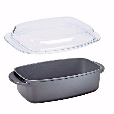 5.7L OVAL 32cm ROASTER DISH ROASTING OVEN TRAY CASSEROLE PAN WITH GLASS LID