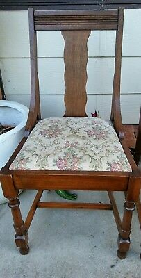 sweet antique hardwood dining chairs x 4