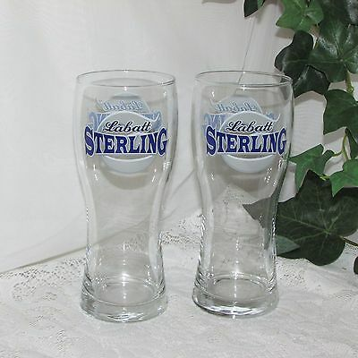 Labatt's Sterling Draft Beer Glass 2 Tall Blue Silver Logo Brewery Canada