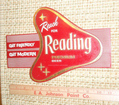 vintage old Reach for Reading Premium Beer sign Pennsylvania Brewery EXC cond.