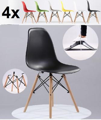4x Retro Replica Eames Eiffel DSW Padded Dining Chair DAW Armchair Cafe Office
