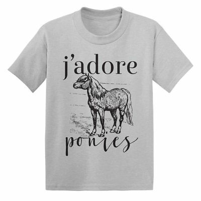 One Horse Threads J'Adore Ponies Child's Mini Tee - Silver - All Sizes