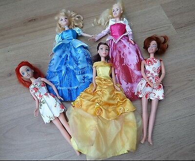Disney Princess Barbie Doll Bundle X5 + Belle Ariel Cinderella Sleeping Beauty
