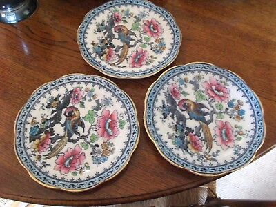 "3 THREE Antique Losol Ware Andes Keeling &Co Macaw Plates 8.5"" dia"