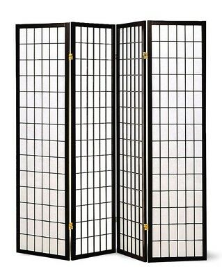 Four Panel Black Wood Framed Screen Room Divider by Coaster 4624