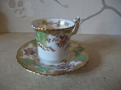 ANTIQUE Coalport GREEN  Batwing Coffee Demitasse Cup and Saucer