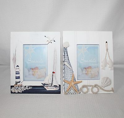 "Whimsical Set of 2 Nautical Seaside Collecton 3 1/2"" X 5""  Table Picture Frames"