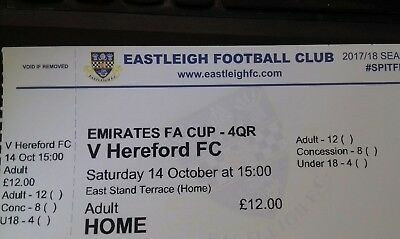 Eastleigh v Hereford FC 14th October 2017 used Match Ticket stub FA Cup 4QR