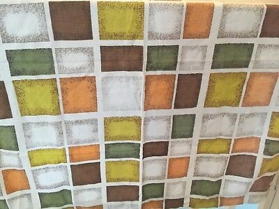 Vintage Barkcloth Curtain/Fabric-Retro-Abstract-1950s