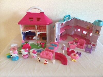 Hello Kitty House With Lights, Furniture And Figures & Other Carry Along House