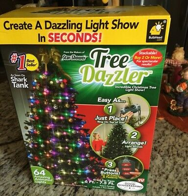 Bulbhead Star Shower Tree Dazzler Christmas Tree Light Show 64 Lights 6 7.5  Ft
