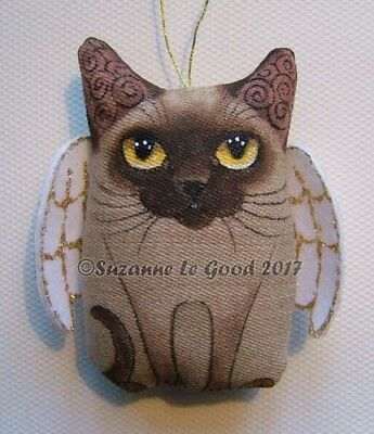 Burmese Cat angel painting Christmas Decoration padded fabric by Suzanne Le Good