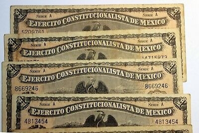 One Peso Notes Series A 1914 Chihuahua Mexico Lot of 5 in circulated condition