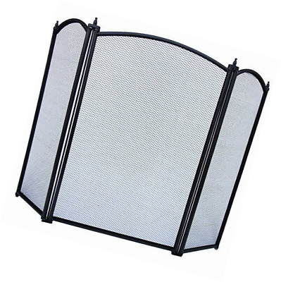 Home Discount Selby 3 Panel Fire Screen Spark Guard, Black