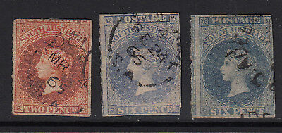 South Australia 1860 Rouletted Issues  #16, 20 and 20a  All Used