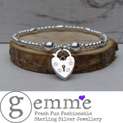 Sterling Silver Stretch Stacking Bracelet with Gorgeous Chunky Padlock Charm