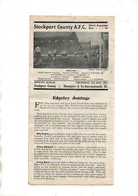 Benefit match:-STOCKPORT COUNTY v MANAGERS & EX INTERNATIONAL XI 1950/1  *Busby*